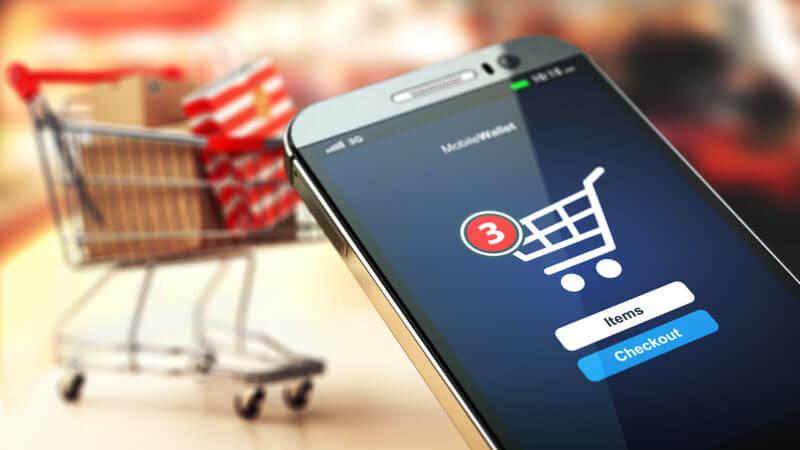 ecommerce smartphone shopping cart